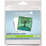 Crescent Chunky Book pages, (2) packs of 4 - Artist Trading Cards, white 10cm x 10cm ATCs