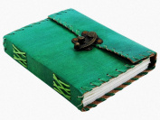 Worldoftextile Gifts Green Colour Leather Diary Journal Notebook Handcrafted With A Metal Lock & Unlined Eco-Friendly Pages
