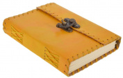 Worldoftextile Gifts Yellow Leather Diary Journal Notebook Handcrafted With A Metal Lock & Unlined Eco-Friendly Pages