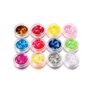 Baomabao 12 Colours Nail Art 3D DIY Tips Stickers Glitter Sequins Manicure