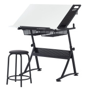 Studio Designs Modern Fusion Craft Centre with 60cm Tray and Stool, Charcoal/White