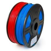 WYZworks ABS 1.75mm 2 Colours / Dual ( RED & BLUE ) Premium 3D Printer Filament - Dimensional Accuracy +/- 0.05mm 1kg / 2.2lb + [ Multiple Colour Options Available ]