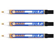3 Pack - Black Valve Action Metal Paint Marker U-Mark, Made In USA