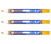 3 Pack - Yellow Valve Action Metal Paint Marker U-Mark, Made In USA