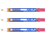 3 Pack - Pink Valve Action Metal Paint Marker U-Mark, Made In USA