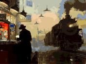 Dorara DIY Oil Painting Paint By Number Hand Paintworks 16×50cm Returning Train