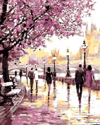 Dorara DIY Oil Painting Paint By Number Hand Paintworks 16×50cm Romantic cherry blossoms road