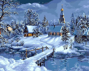 Dorara DIY Oil Painting Paint By Number Hand Paintworks 16×50cm Winter town Christmas gifts