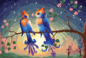Dorara DIY Oil Painting Paint By Number Hand Paintworks 16×50cm Love birds