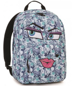 Backpack INVICTA – OLLIE PACK FACE – BLUE FANTASY Kiss – Pocket PC Padded – American 25 lt