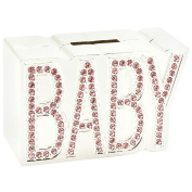 Stunning Silver Plated & Pink Dimante Baby Girl Money Bank by Haysom Interiors