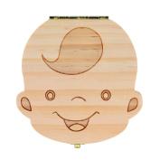 Baby tooth box organiser Wood storage box English/ Spanish, Boys & Girls