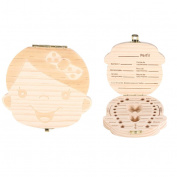 Baby Tooth Storage Box, Cartoon Pattern Wooden Case Save Milk Teeth Organiser For 3-6 Years Kids Creative Gift Souvenir