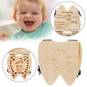 TONSEE Cute Personality Baby Teeth Box Save Wooden Boxes Deciduous Souvenir Box