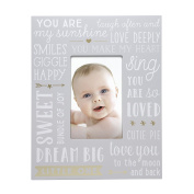 Little Blossoms by Pearhead Wordplay Keepsake Photo Frame, Grey