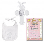 Baptism Gift for Girl   Cross and Bib Set From Mud Pie and a Baptism Prayer Card   Christening Gift for Girls from Godmother