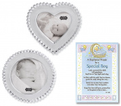 Baptism Gifts for Boy   Beaded Circle and Heart Frame Set From Mud Pie and a Baptism Prayer Card   Christening Gift for Boys from Godmother