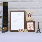leoyoubei Hand and image of boy and girl with picture box, baby shower gift register, souvenir decorated wall or table decoration, 13cm x 18cm frame and senior clay ,Cute bear