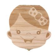 Franterd Cute Tooth Box Organiser for baby Milk Teeth Save Wooden Deciduous Souvenir Storage Boxes