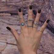 DDLBiz 8PCS Women's Vintage Chic Boho Crystal Flower Fine Knuckle Ring Set