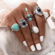 DDLBiz 5pcs/Set Women Vintage Silver Stack Bohemian Rings Above Knuckle Blue Rings