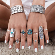 DDLBiz 9pcs/Set Women Vintage Silver Stack Bohemian Rings Above Knuckle Blue Rings