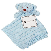 Baby cotton knit security blanket bear head gift set