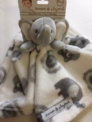Blankets & Beyond Grey & White Elephant Security Blanket