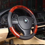 Follicomfy Leather Auto Car Steering Wheel Cover,Anti Slip Universal 38cm ,Wood Grain Design