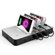 Charging Station - Upgraded USB Charger Station with Quick Charge 3.0 Ports & 5-Port 2.4A Electronics Charging Station Dock with 6 retractable USB cable Perfect for iPhone & Smartphone