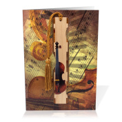Greeting Card With Attractive Collage of Classical Sheet Music and Violin with Wood Bookmark - A Tasteful Gift and Card All-In-One