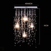 European Style Creative Hand Knit Crystal Chandelier Fixture 5 Light LED American Simple Modern Personality Chrome LED Crystal Bead Curtain Ceiling Light
