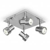 Modern Brushed Chrome Square 4 Way LED GU10 Ceiling Spotlight Spot Light Fitting,L23CM H12cm