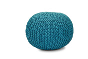 S.L. Home Fashions, Inc. Psp-4536 Hand Knitted Round Rope Pouffe Turqioise, Turquoise