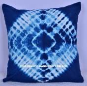 Square Indigo Blue Colour 41cm x 41cm Size Hippie Mandala Outdoor Cushion Cover Indian Cotton Shibori Pillow Throw Sofa Home Decor Sold By Handicraft-Palace
