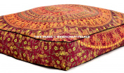 90cm x 90cm Square Floor Cushion, Elephant Mandala Throw Pillowcase Decorative Pouffe, Indian Outdoor Cushion Cover, Boho Ottoman, Pillow Shams By Handicraft-Palace