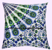 Indian Cushion Cover Peacock Mandala Home Decor White Pillow Case Sofa Throw Hippie By Handicraft-Palace