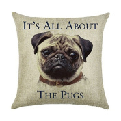 DECORLUTION Letter It's All about The Pugs Pattern 46cm x 46cm Cotton Linen Standard Size Throw Cushion Cover Pillow Case for Home Sofa Decorative Durable Square Pillowcase Pillow Covers Cases
