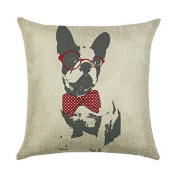 DECORLUTION Boston Terrier with Red Glasses Bow Tie Pattern 46cm x 46cm Cotton Linen Square Throw Pillow Case Cushion Cover for Home Decorative Standard Size Pillow Covers Cases Pillowslip