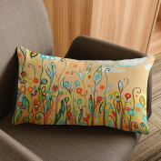 ZTY66 Flower & Bird Printing Rectangle Polyester Pillow Case Cushion Cover for Sofa Bed Home Decor