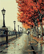 Dorara DIY Oil Painting Paint By Number Hand Paintworks 16×50cm Romantic Love Autumn