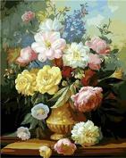 Dorara DIY Oil Painting Paint By Number Hand Paintworks 16×50cm Elegant Flowers in vase