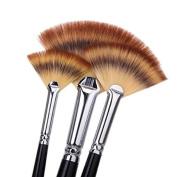 6 Pcs Paint Brush Set Artist Fan Brush Wood Long Hands Painting Brush Set for Oil Paint Acrylic Paint