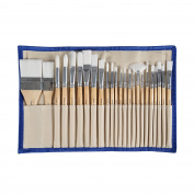 CONDA 24 Pcs Chip Paint Brushes Set Professional Synthetic Short Handle w/ Brush Case