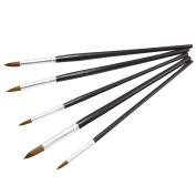 ZHOUXINXING 5Pcs/Set,horse hair brown Wood short Rod gouache Hook line Brush Pen