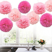 KINGZHUO 9pcs Mixed 15cm 20cm 25cm Pink Light Pink Rose Tissue Paper Pompoms Pom Poms Flower for Wedding Birthday Party Decoration