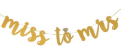 Miss to Mrs Banner Gold Glitter Bridal Shower and Bachelorette Party Bunting Decoration