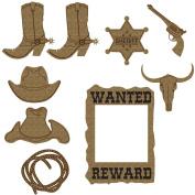 Creative Embellishments Cowboy Laser Cut Chipboard - 9 piece set