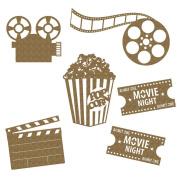 Creative Embellishments Movie Night Laser Cut Chipboard - 6 piece set