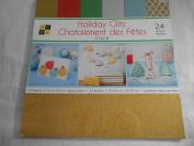 DCWV Holiday GLitz 24 Sheets Glitzy Glitter Paper Stack
